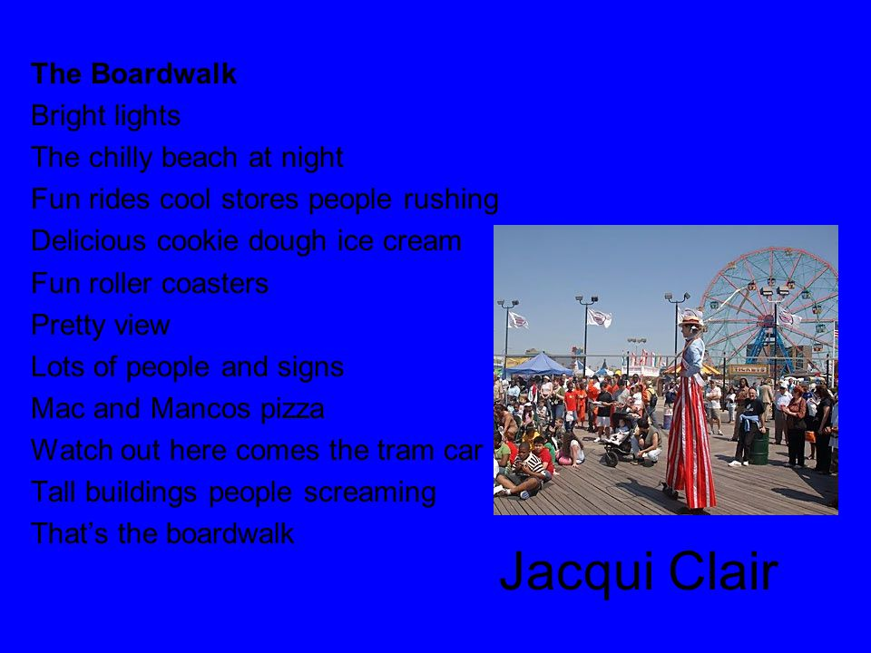 Jacqui Clair The Boardwalk Bright lights The chilly beach at night