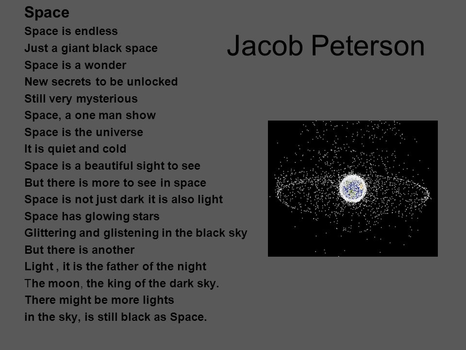 Jacob Peterson Space Space is endless Just a giant black space