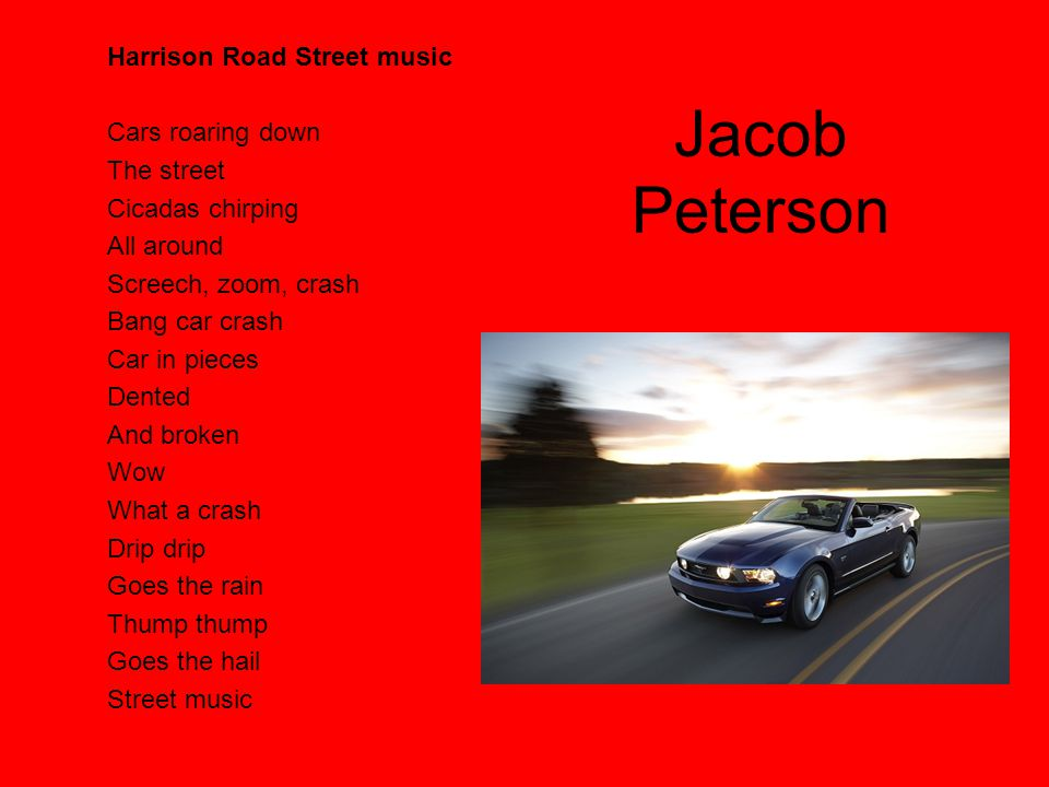 Jacob Peterson Harrison Road Street music Cars roaring down The street