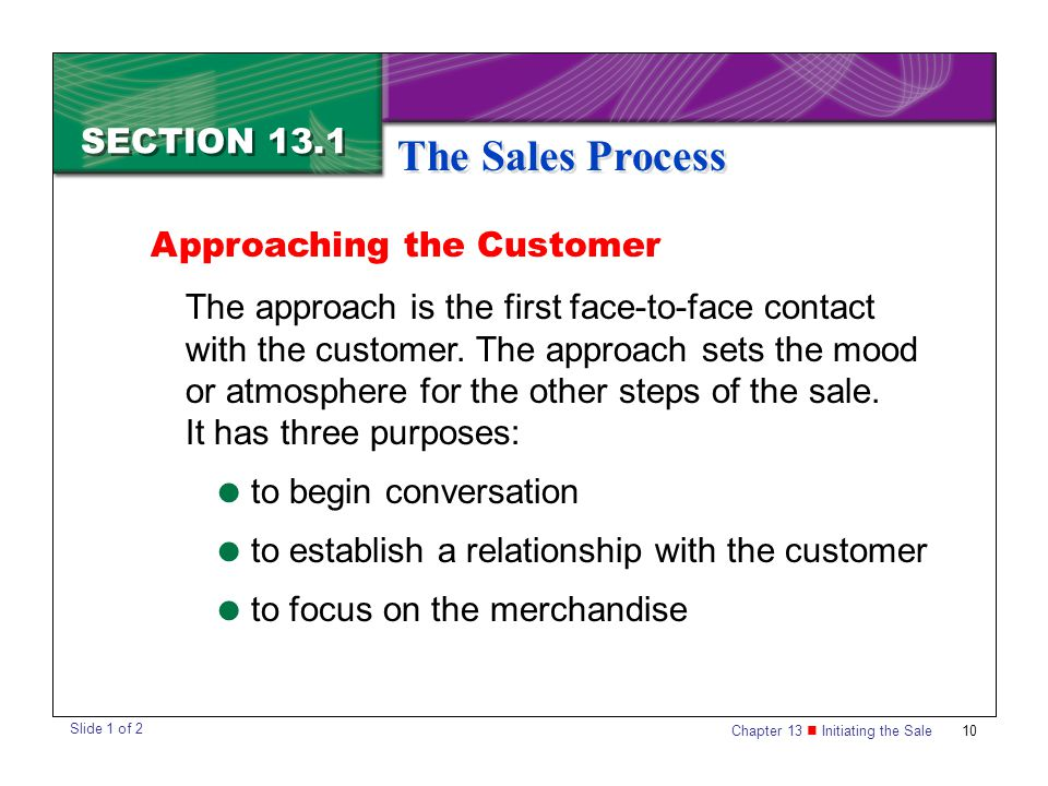 The Sales Process SECTION 13.1 Approaching the Customer