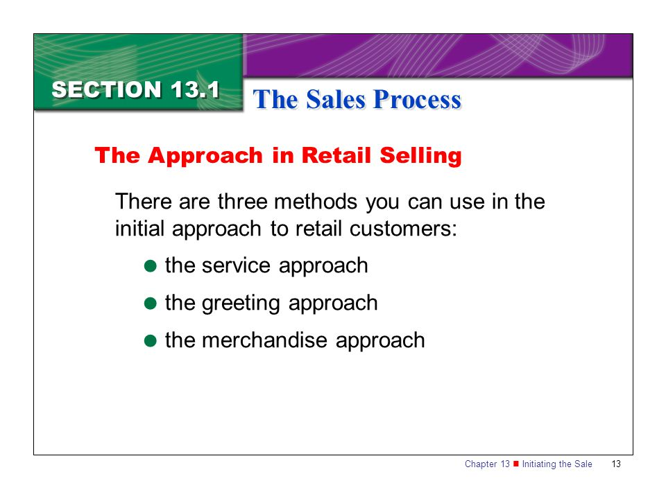 The Sales Process SECTION 13.1 The Approach in Retail Selling