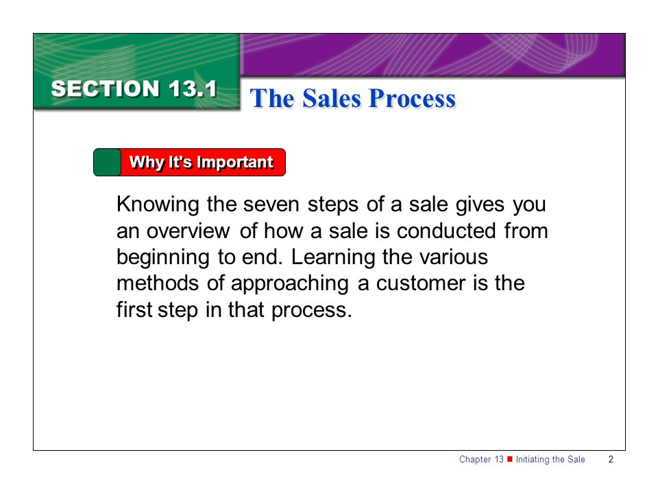 The Sales Process SECTION 13.1