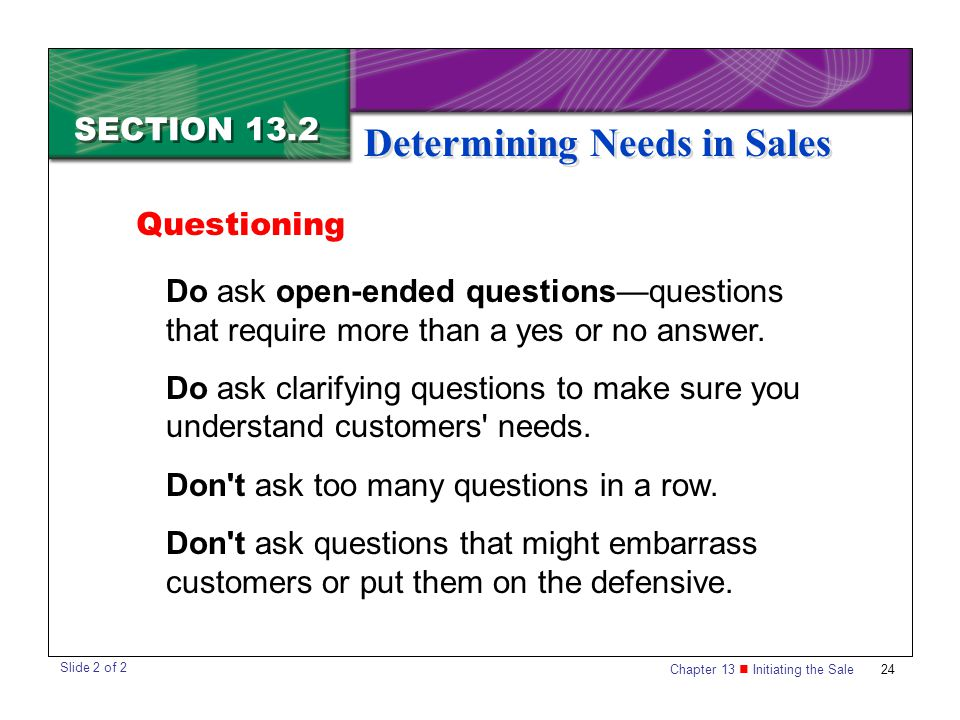 Determining Needs in Sales