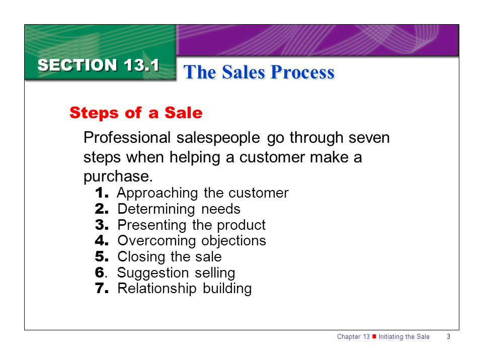 The Sales Process SECTION 13.1 Steps of a Sale
