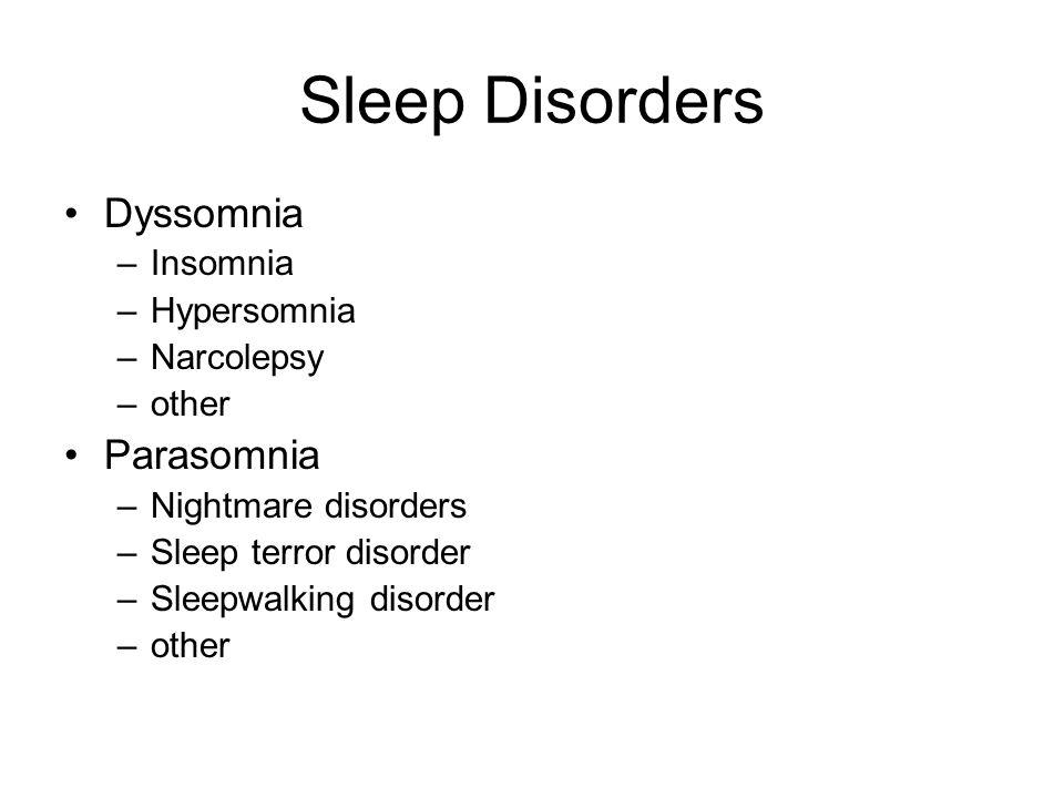 Sleep Disorders Dyssomnia Parasomnia Insomnia Hypersomnia Narcolepsy