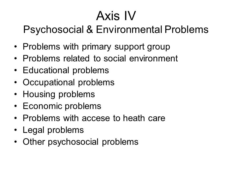 Axis IV Psychosocial & Environmental Problems