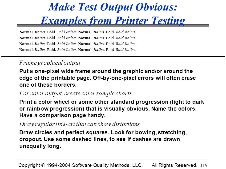 Make Test Output Obvious: Examples from Printer Testing