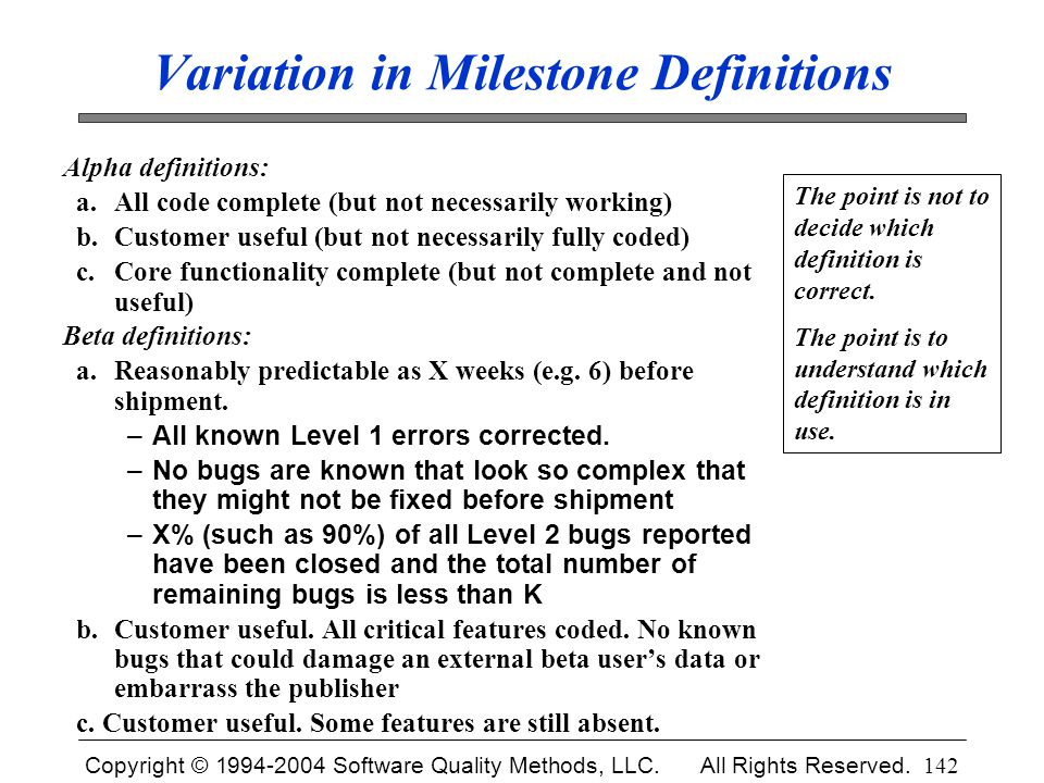 Variation in Milestone Definitions