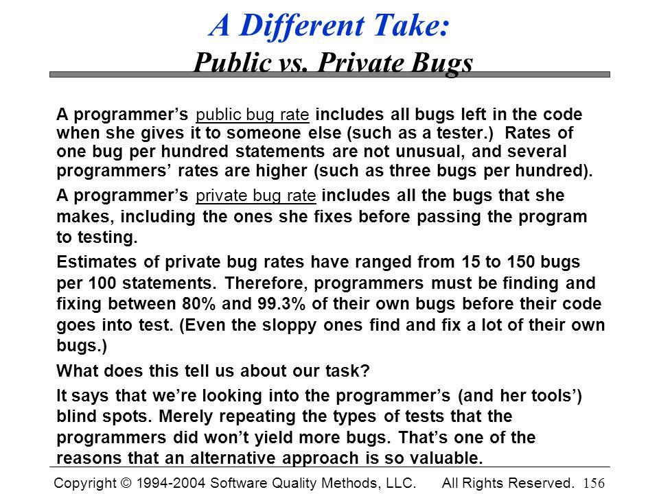 A Different Take: Public vs. Private Bugs