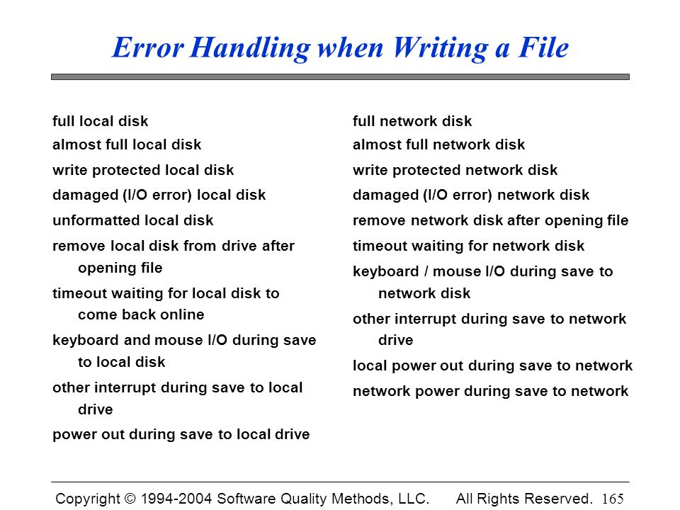 Error Handling when Writing a File
