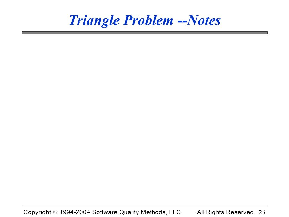 Triangle Problem --Notes