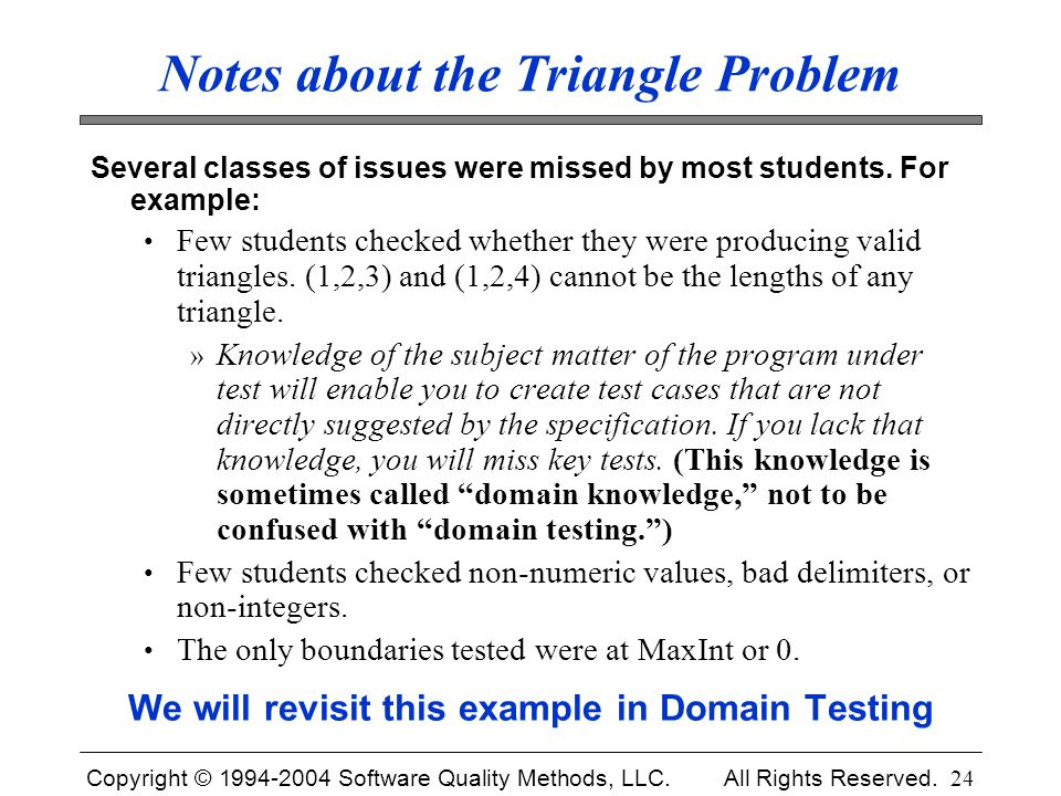 Notes about the Triangle Problem
