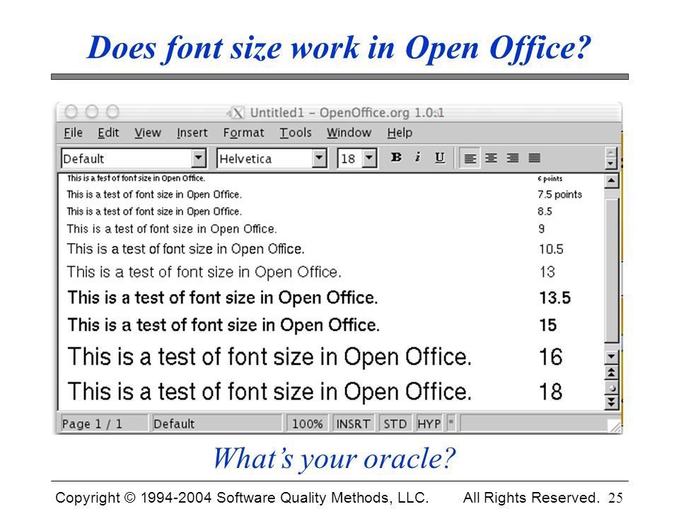 Does font size work in Open Office