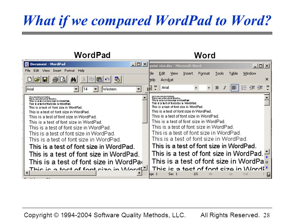 What if we compared WordPad to Word
