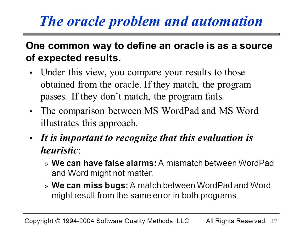 The oracle problem and automation