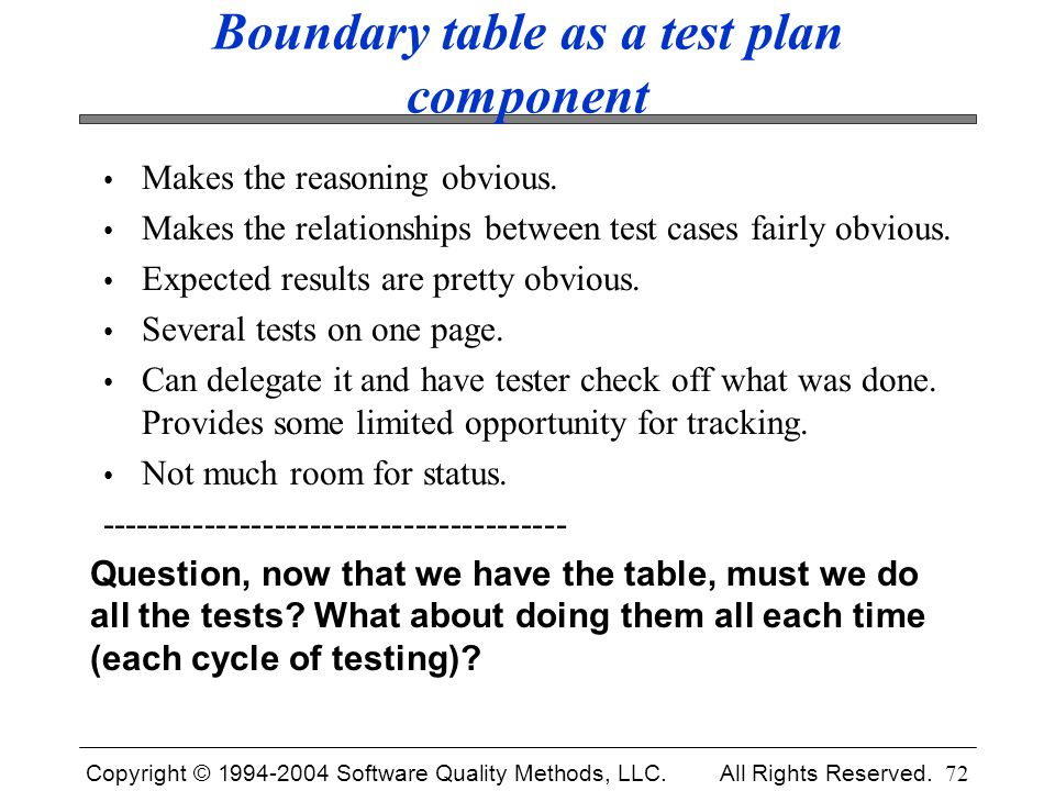 Boundary table as a test plan component