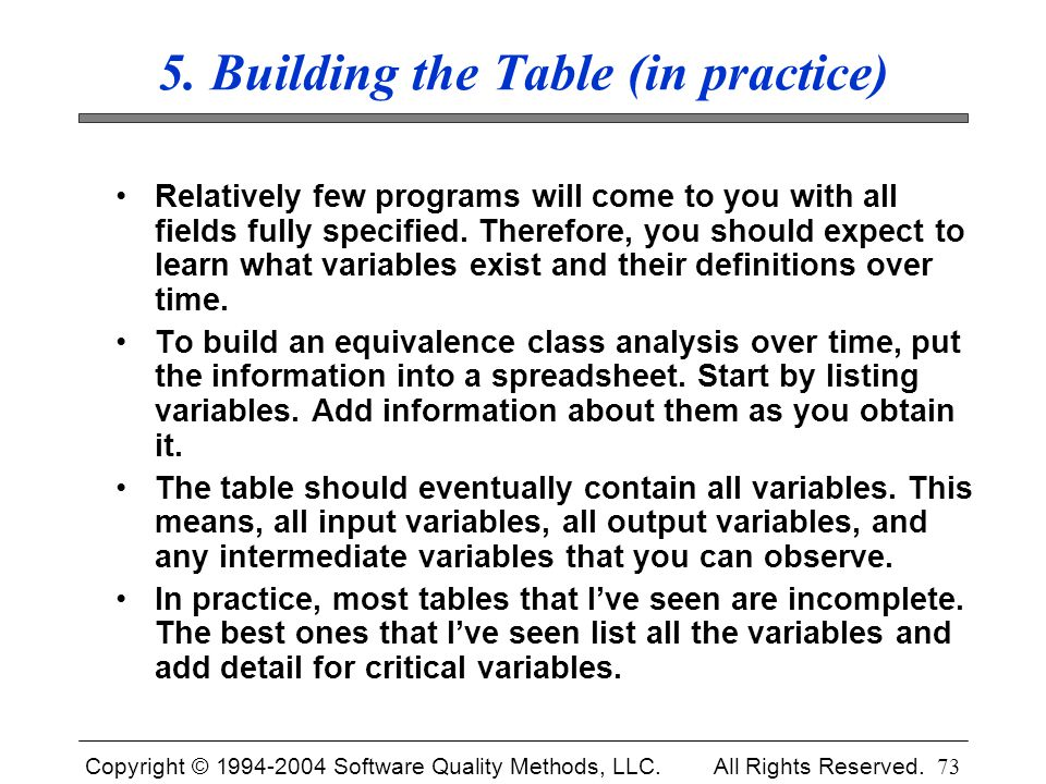 5. Building the Table (in practice)