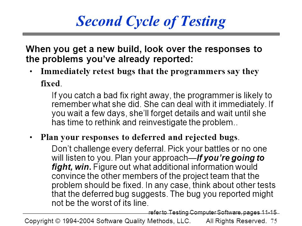 Second Cycle of Testing