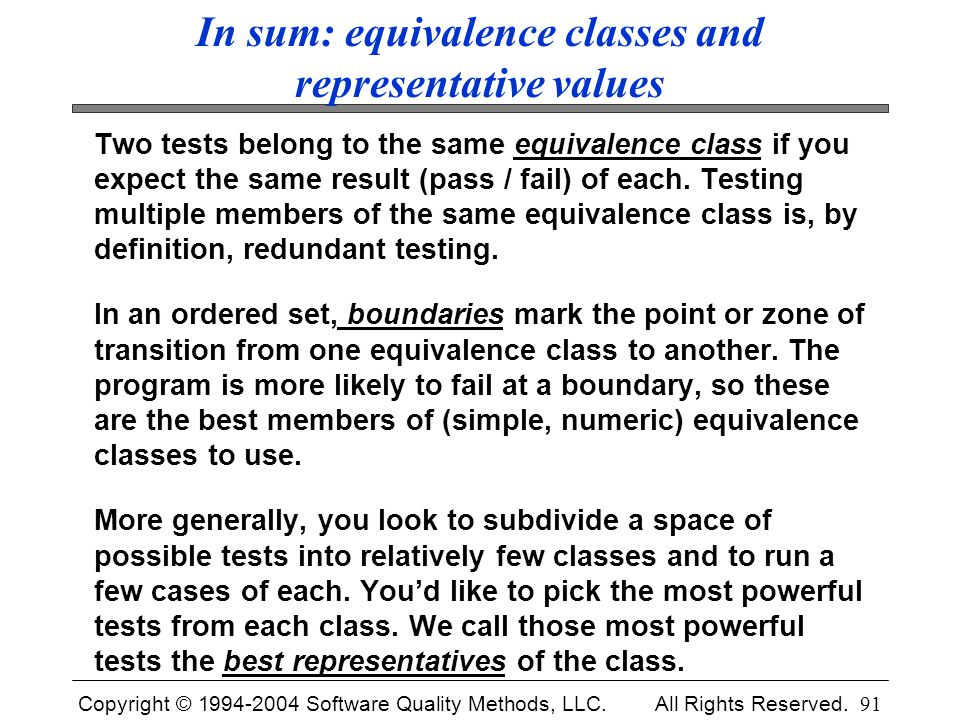 In sum: equivalence classes and representative values