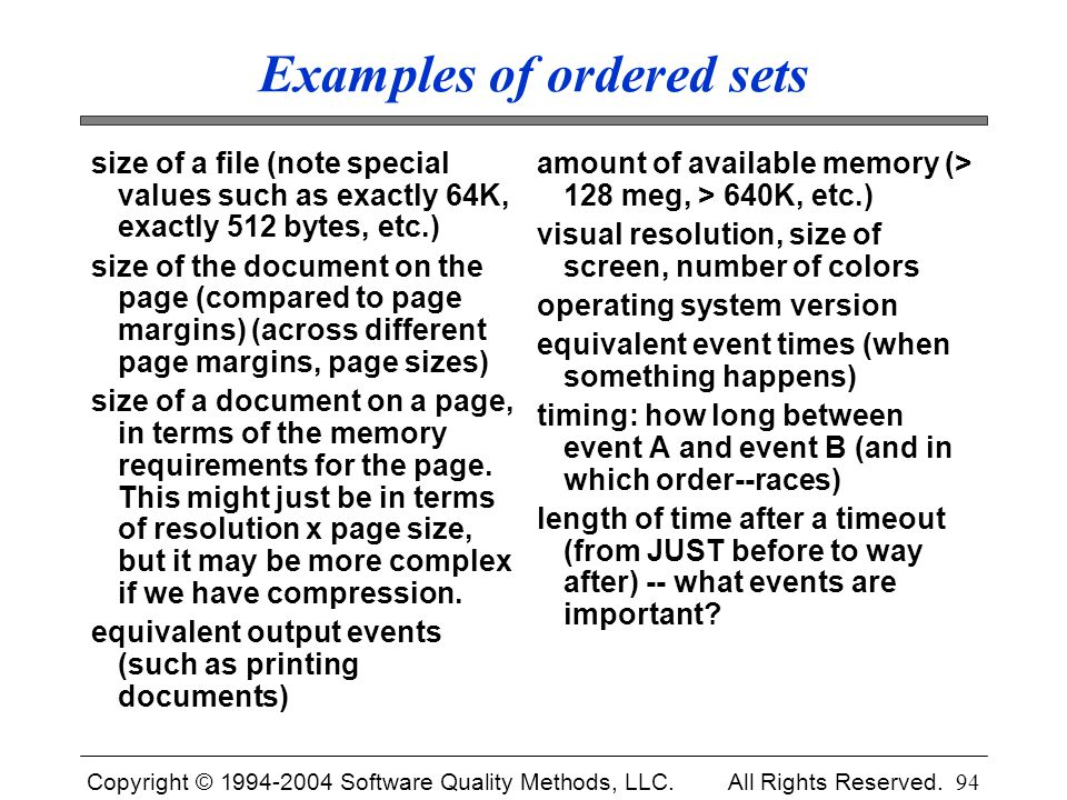 Examples of ordered sets