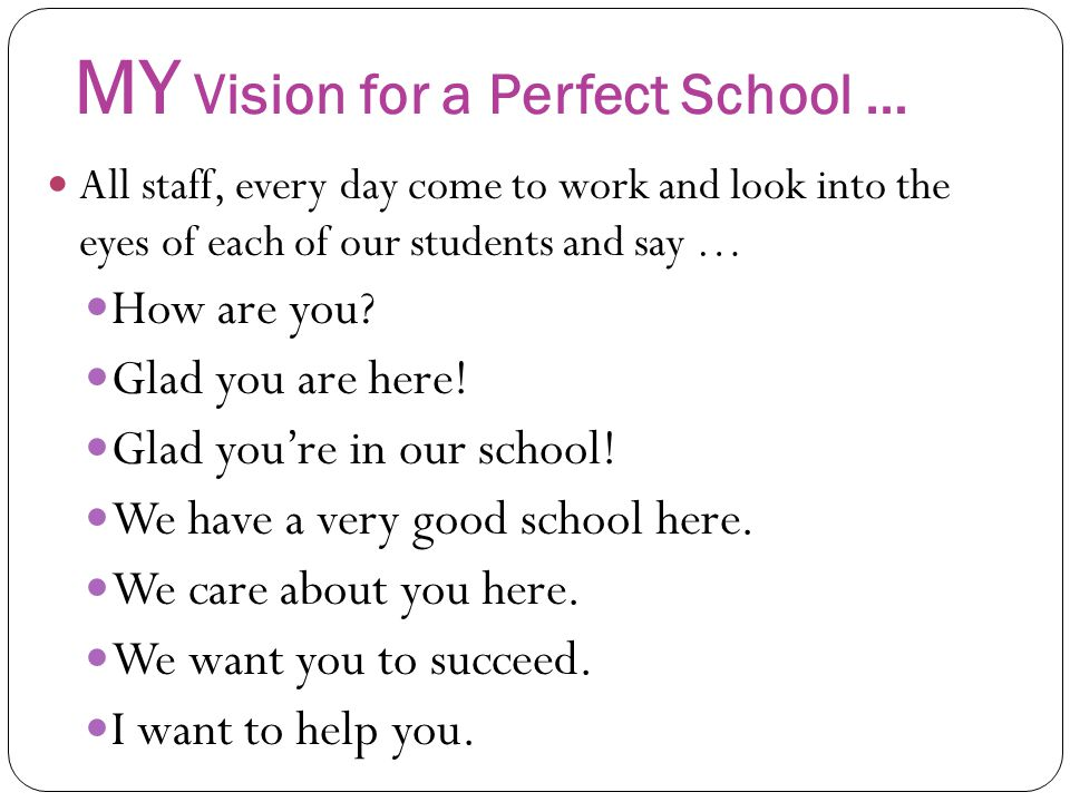 MY Vision for a Perfect School …