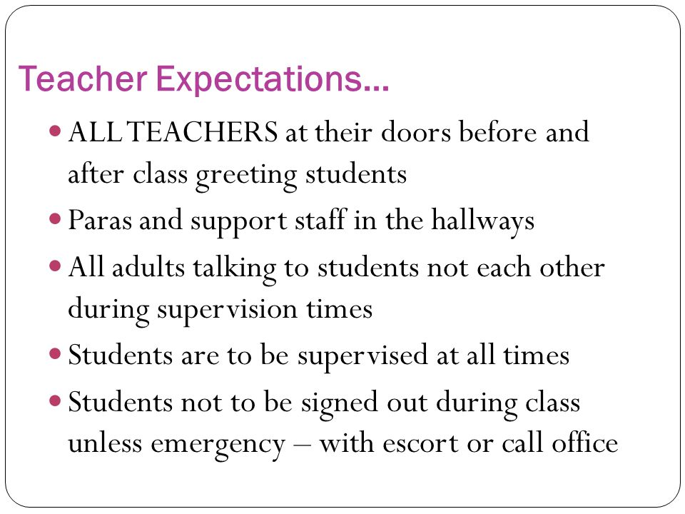 Teacher Expectations…