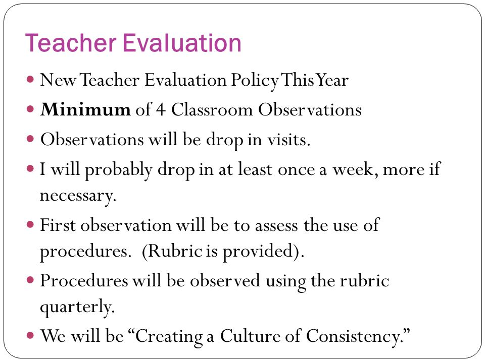 Teacher Evaluation New Teacher Evaluation Policy This Year