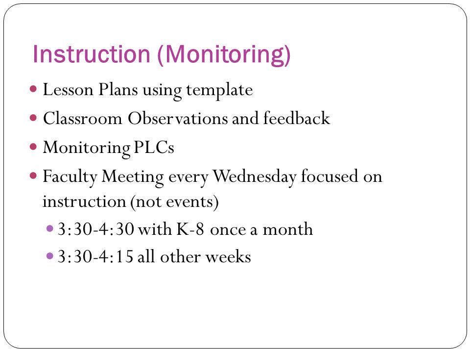 Instruction (Monitoring)