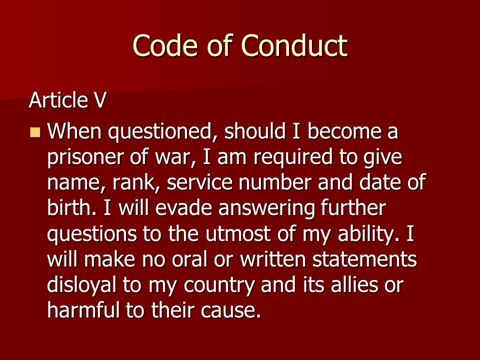 Code of Conduct Article V