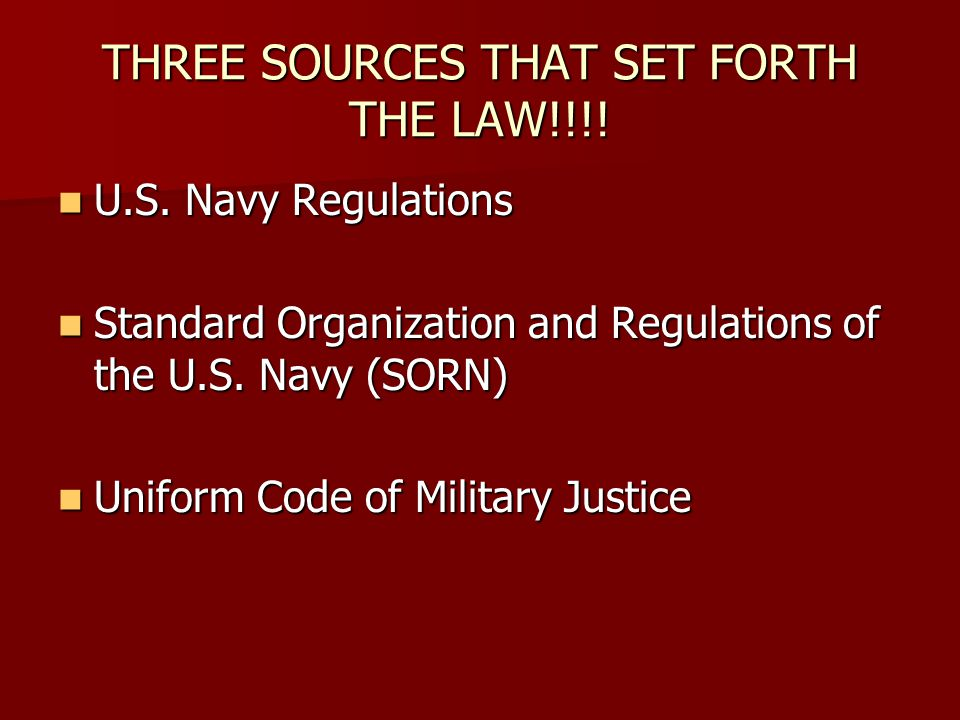 THREE SOURCES THAT SET FORTH THE LAW!!!!
