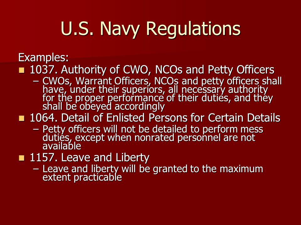 U.S. Navy Regulations Examples: