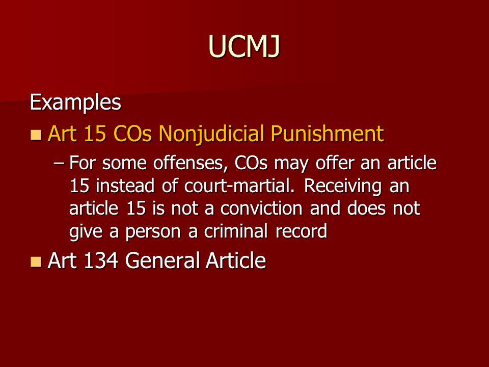 UCMJ Examples Art 15 COs Nonjudicial Punishment