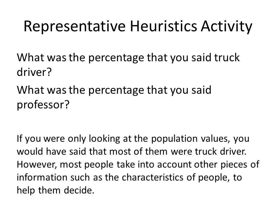 Representative Heuristics Activity