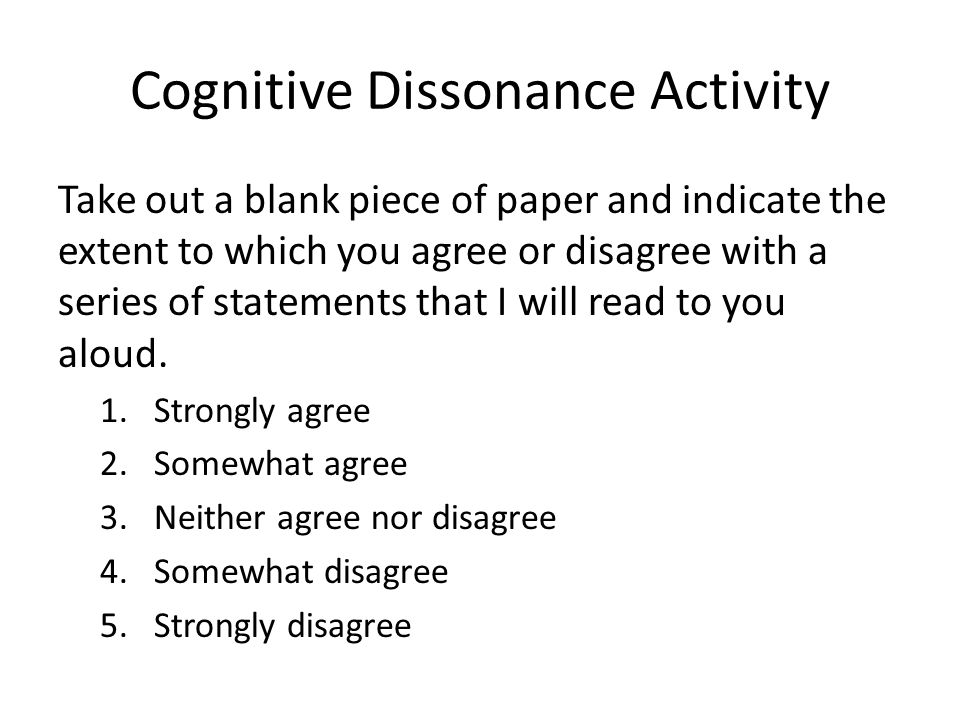 Cognitive Dissonance Activity