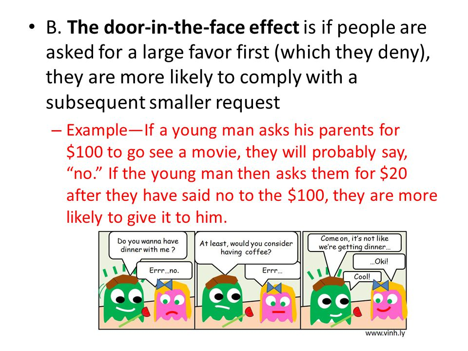 B. The door-in-the-face effect is if people are asked for a large favor first (which they deny), they are more likely to comply with a subsequent smaller request