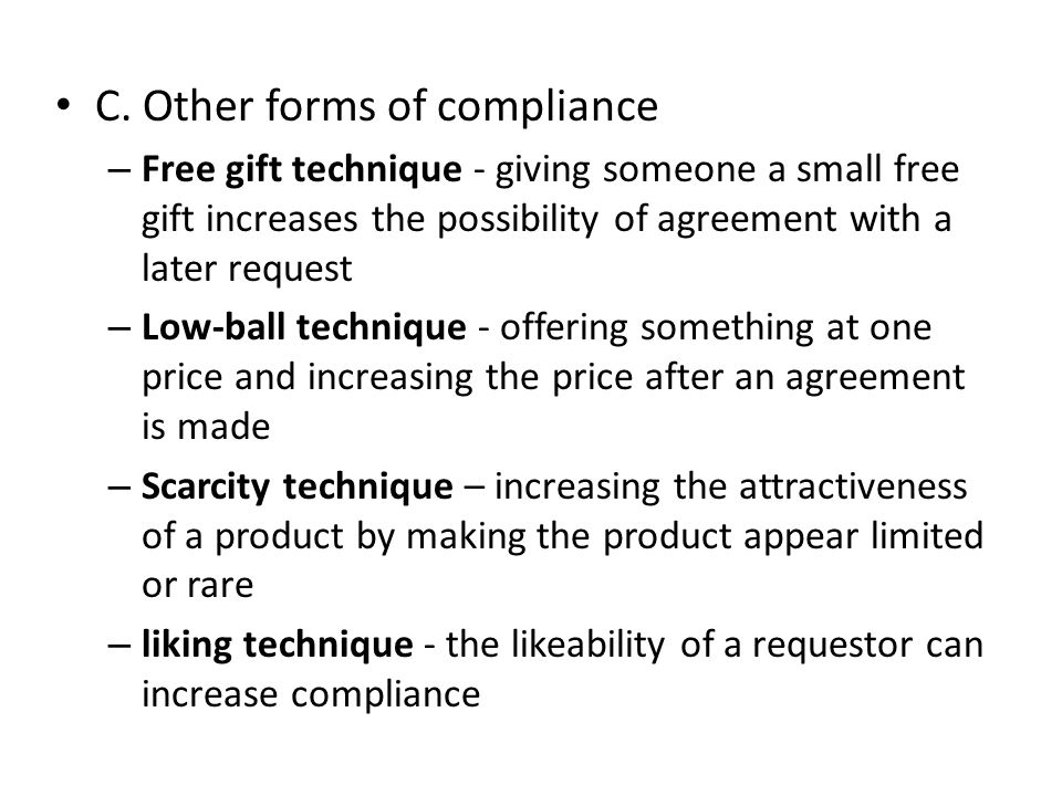 C. Other forms of compliance