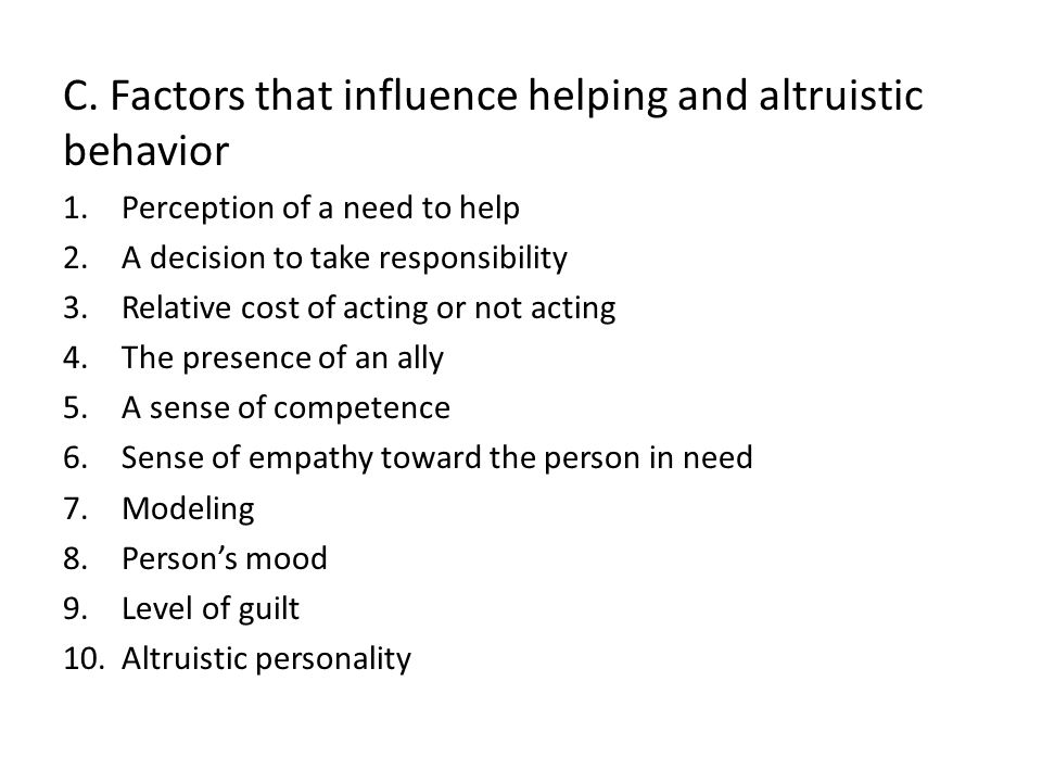 C. Factors that influence helping and altruistic behavior