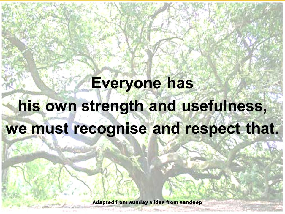 his own strength and usefulness, we must recognise and respect that.