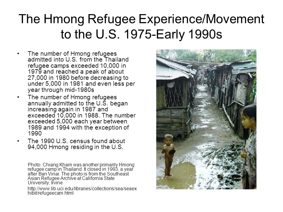 The Hmong Refugee Experience/Movement to the U.S. 1975-Early 1990s