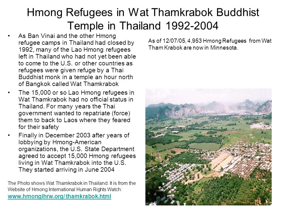 Hmong Refugees in Wat Thamkrabok Buddhist Temple in Thailand 1992-2004