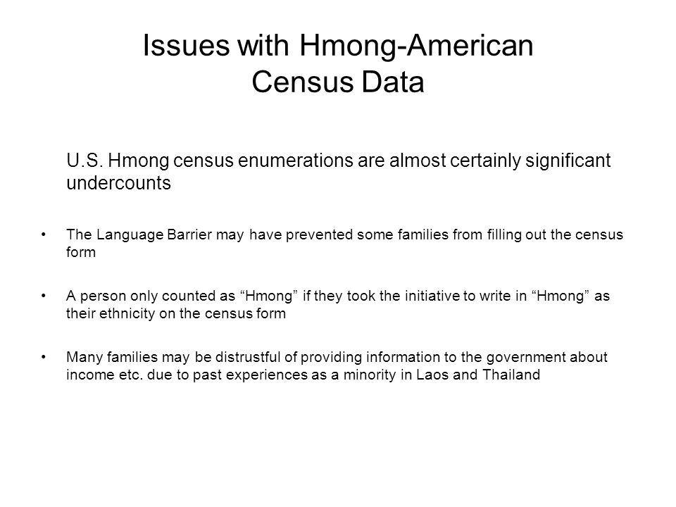 Issues with Hmong-American Census Data