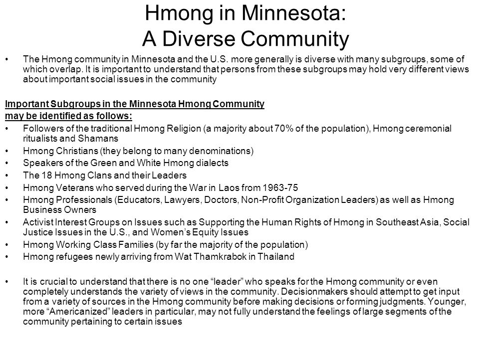 Hmong in Minnesota: A Diverse Community