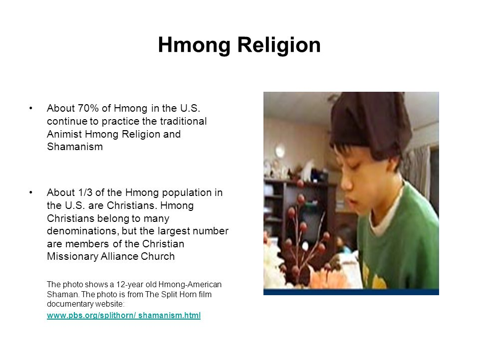 Hmong Religion About 70% of Hmong in the U.S. continue to practice the traditional Animist Hmong Religion and Shamanism.