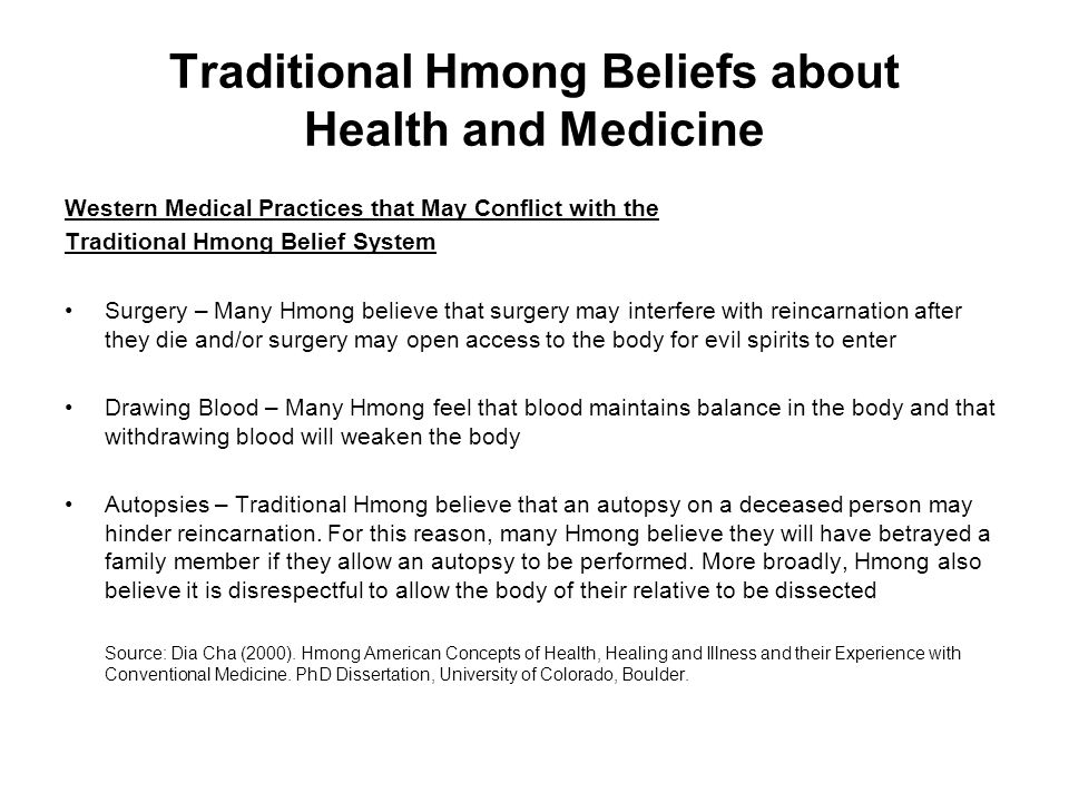 Traditional Hmong Beliefs about Health and Medicine