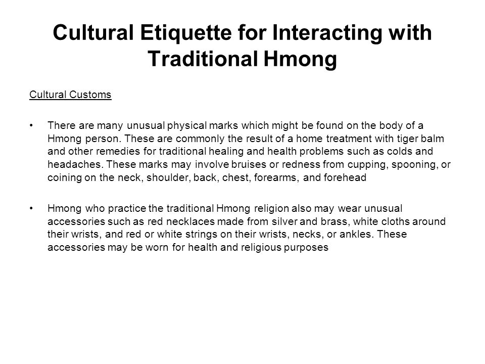 Cultural Etiquette for Interacting with Traditional Hmong