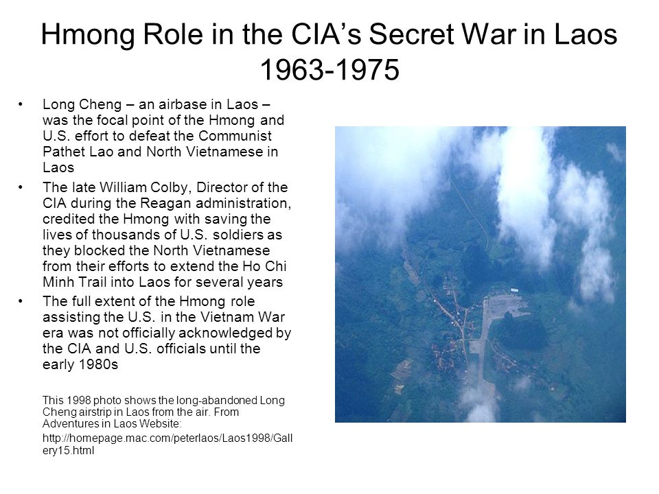 Hmong Role in the CIA's Secret War in Laos 1963-1975
