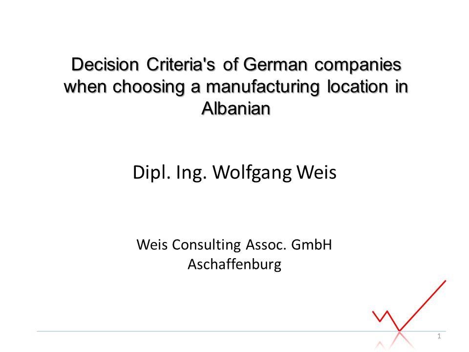 Dipl. Ing. Wolfgang Weis Weis Consulting Assoc. GmbH Aschaffenburg