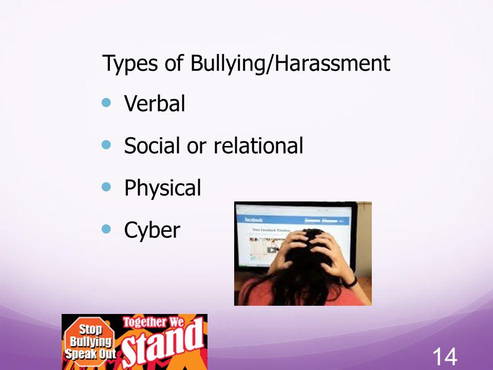 Types of Bullying/Harassment