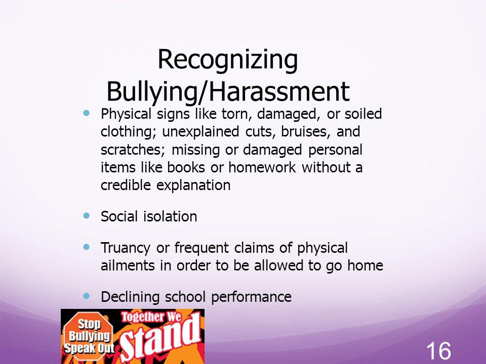 Recognizing Bullying/Harassment