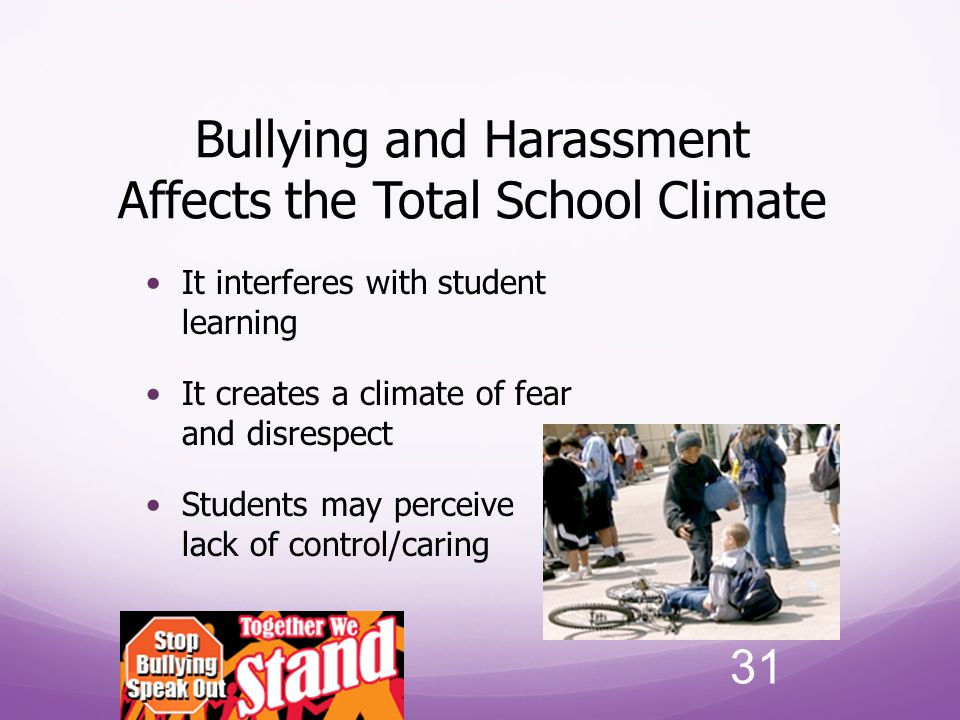Bullying and Harassment Affects the Total School Climate
